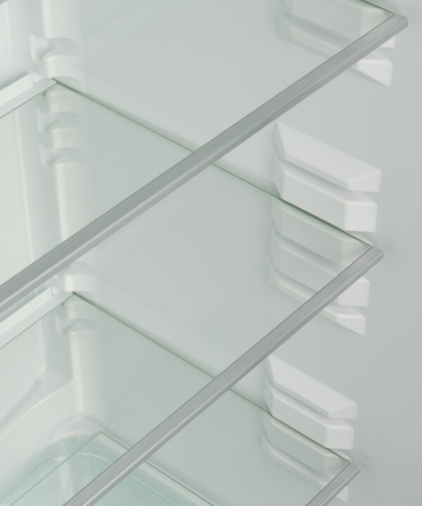 The glass shelves with frames
